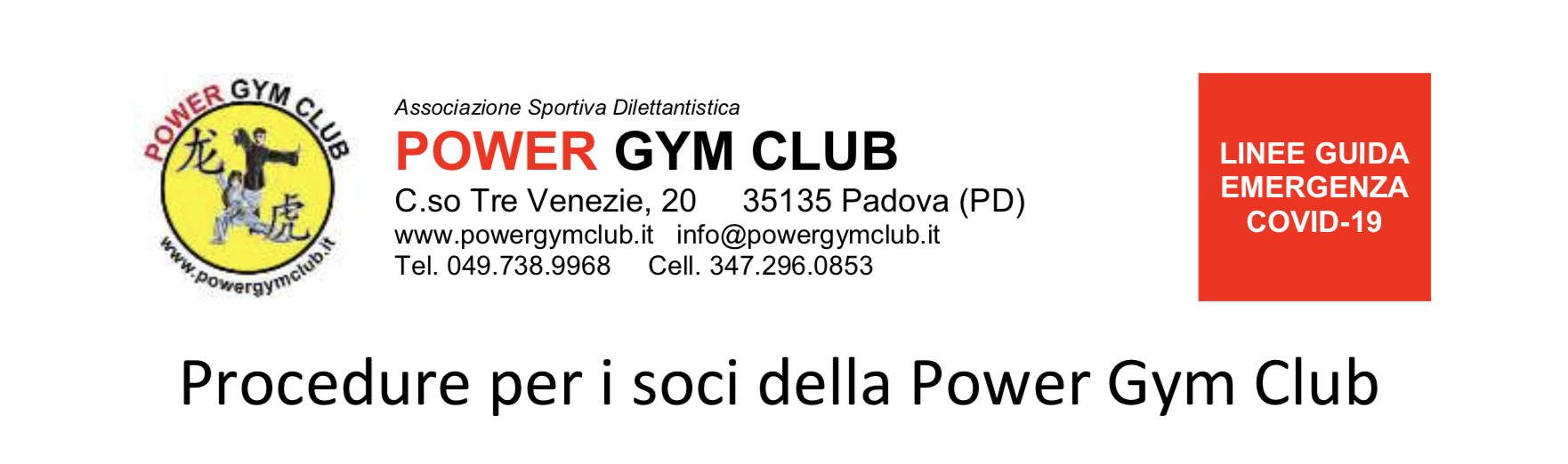 Procedure per i soci della Power Gym Club - COVID-19